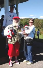 Santa and Barbara his helper with Comet and Noel at the wiggle waggle walkathon.  Added 9/22/12