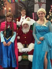 Santa and Mrs Claus at the Family Fun Factory with Elsa and Anna 2015 Added 1/2/16